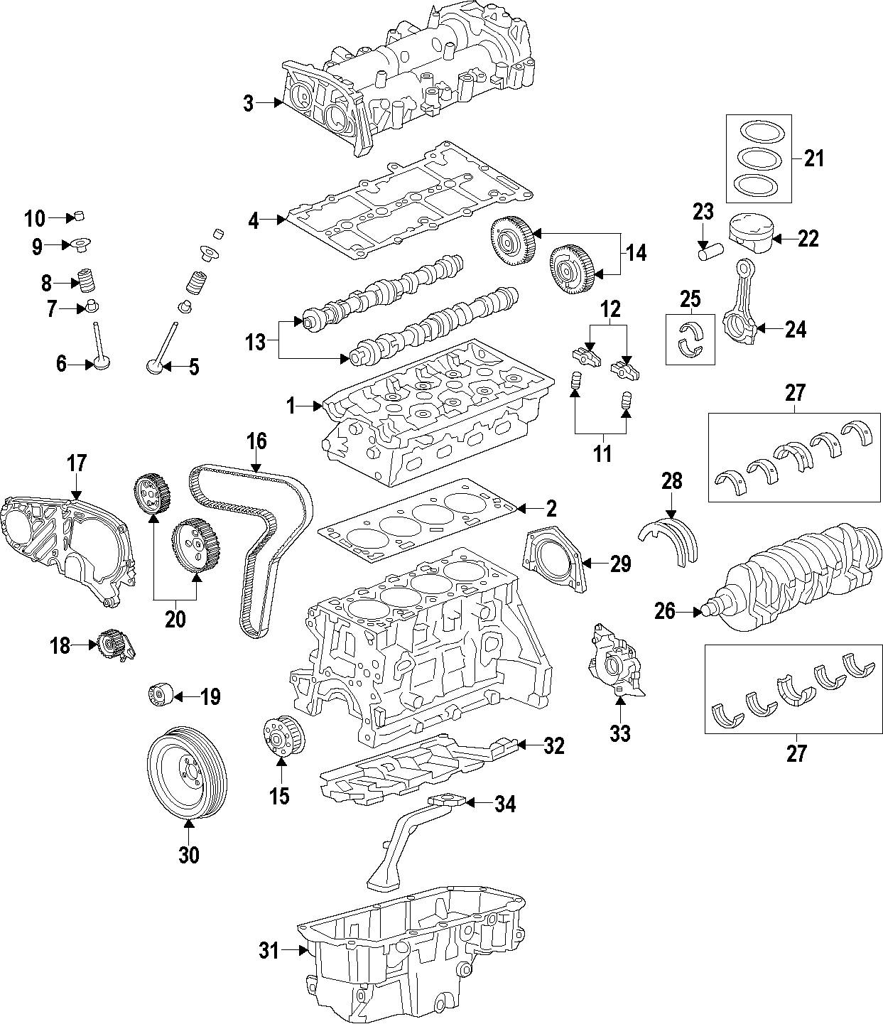 Chevrolet Cruze Engine Rocker Arm. Engine Rocker Arm