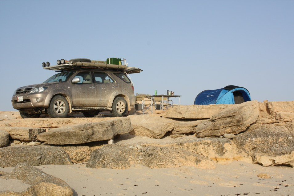 Our Toyota Fortuner, seen here on the coast of Oman
