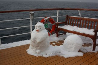 Snowman on deck Antarctica cruise