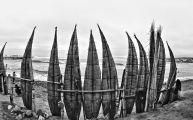 Reed boats Huanchaco Peru