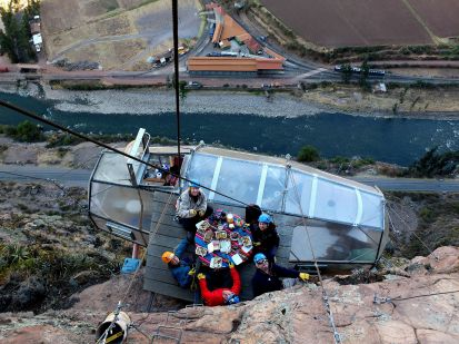 breakfast on a cliff face skylodge Sacred Valley Peru