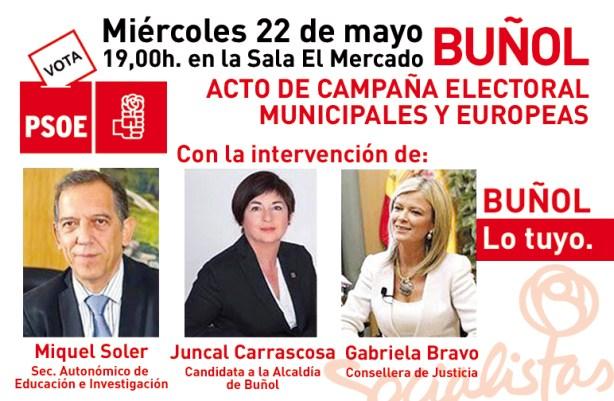 Cartel del acto de campaña del PSOE en Buñol.
