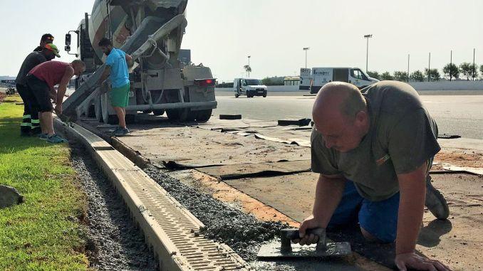 Trabajos de mantenimiento de drenajes en el Circuito.