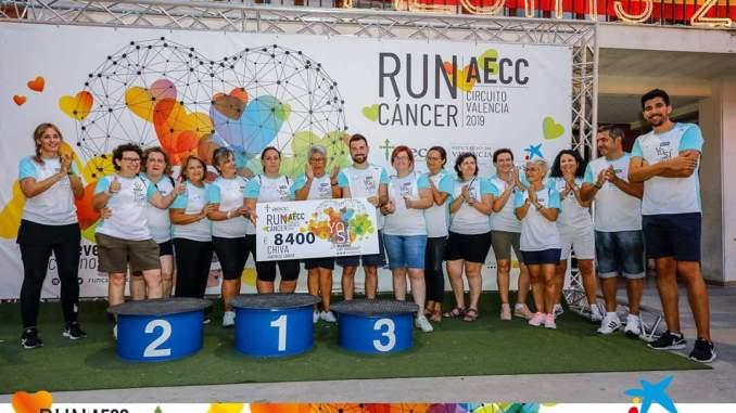 Éxito total en la Runcáncer celebrada el pasado viernes 30 de agosto en Chiva, en la que se repartieron 1680 dorsales obteniendo una recaudación de 8400 euros íntegramente destinados a la Asociación Española contra el Cáncer