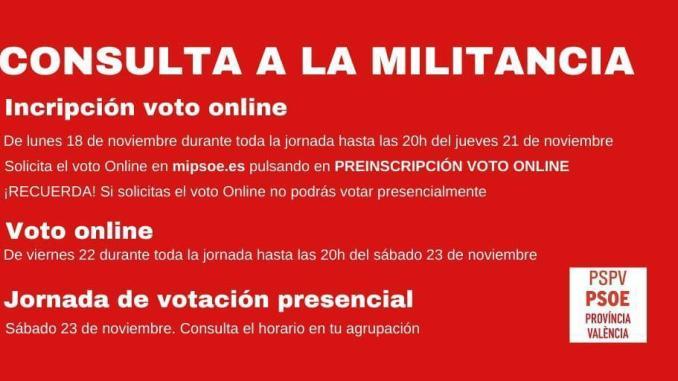 «Consulta a la Militancia» este sábado 23 de noviembre de 11 h. a 15 h. En el local de UGT.
