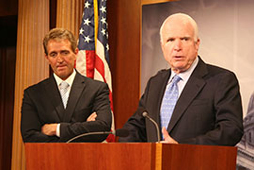 Image result for photo of jeff flake giving his speech