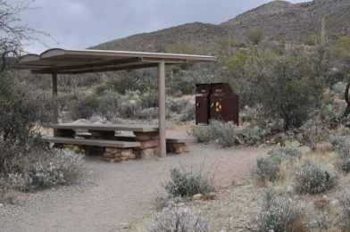 picnic table at Saguaro National Park EAST