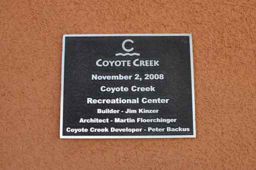 Coyote Creek Recreation Center was dedicated in November 2008