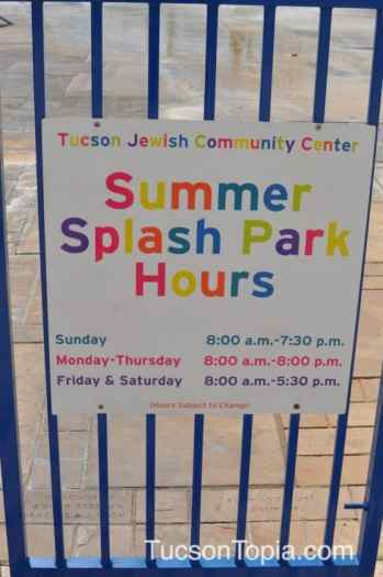 Splash Park Hours at Tucson Jewish Community Center