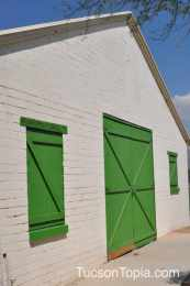 cool green barn-style doors at Brandi Fenton Memorial Park