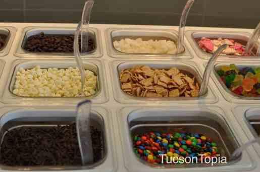 frozen yogurt toppings at Yogurtland