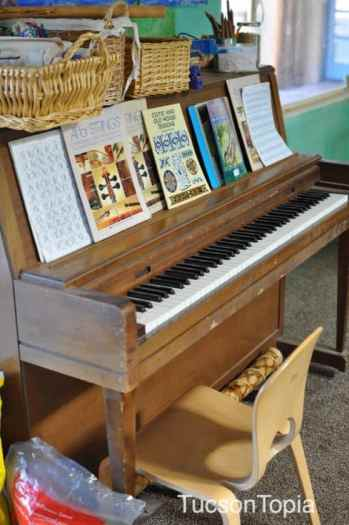 piano in a classroom at Tucson Waldorf School