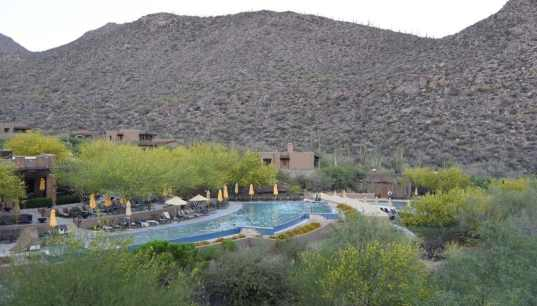 swimming pool at the base of the Tortolita Mountains
