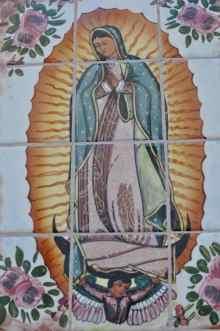 tiled artwork at Mission San Xavier del Bac