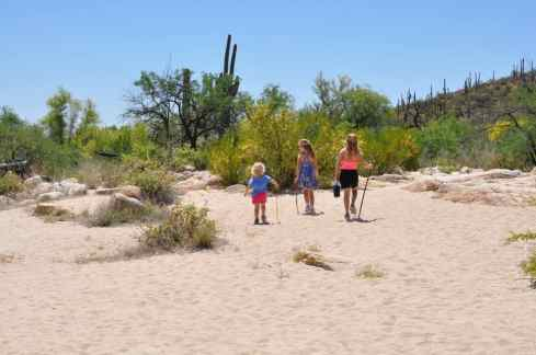 children hiking near Sabino Dam East