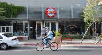 bicyclist in Downtown Tucson