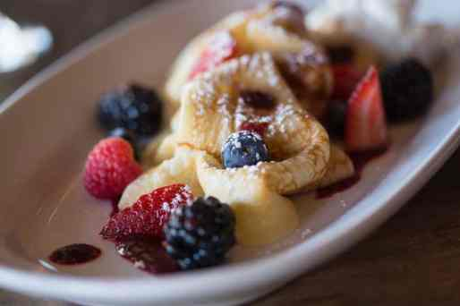 crepe with berries at The Living Room