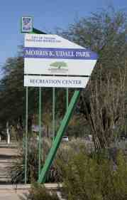 Morris K Udall Park sign