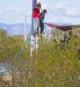 kids climbing Purple Heart Park