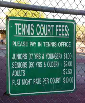 tennis court fees Fort Lowell Park