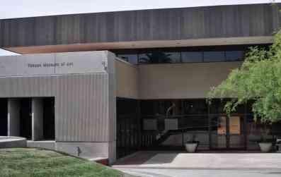 Tucson Museum Art glass doors trees