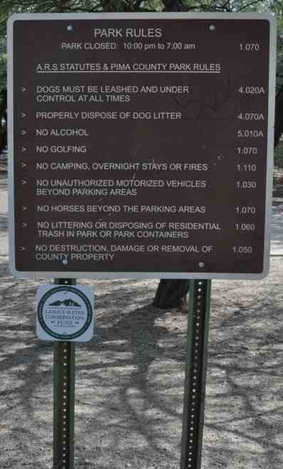 park rules McDonald Tucson