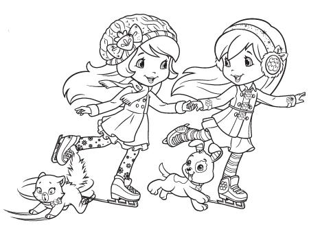 Desenho de Moranguinho e Framboesa patinando para colorir
