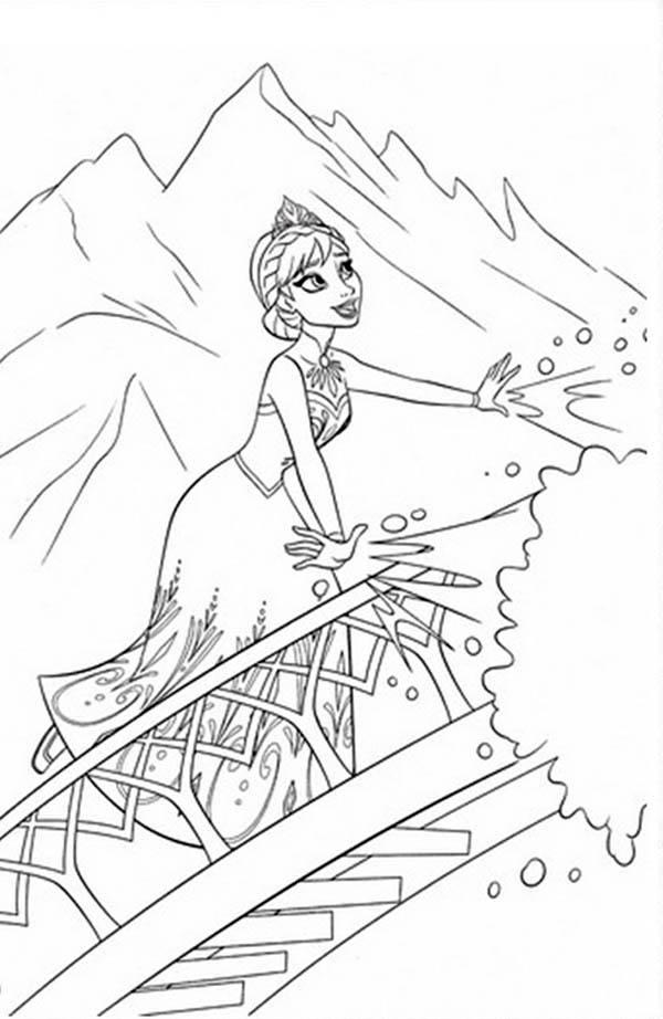 Desenho de Elsa aprendendo a usar poderes para colorir