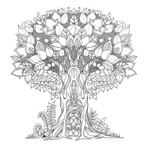 Desenho de Árvore encantada para adultos para colorir