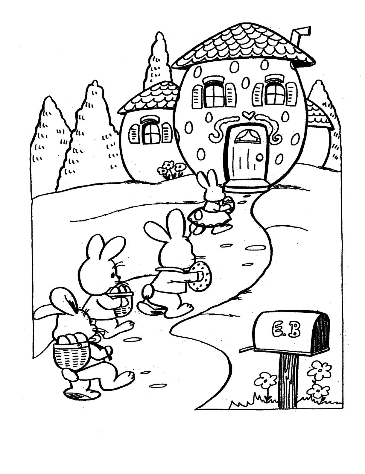 Desenho De Casa Do Coelhinho Da Pascoa Para Colorir