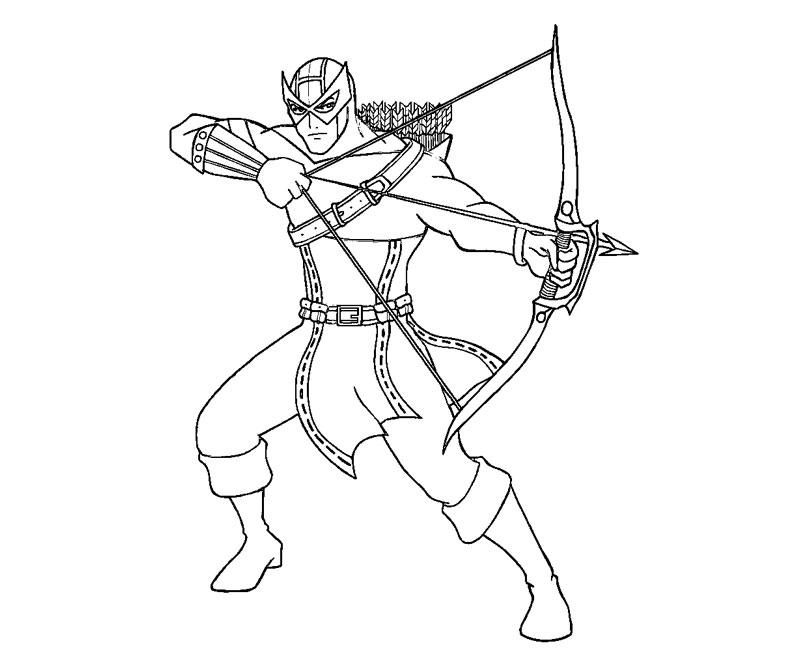 Desenho de Gavião Arqueiro e sua arma para colorir
