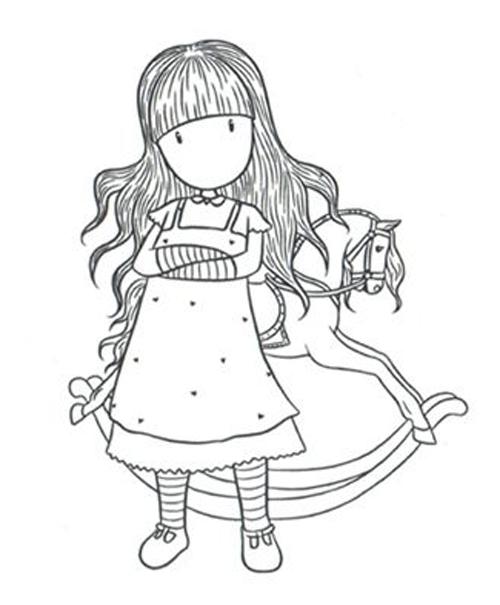 Desenho de Boneca Gorjuss e cavalinho de pau para colorir
