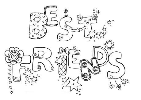 Desenho de Melhores amigos em inglês para colorir