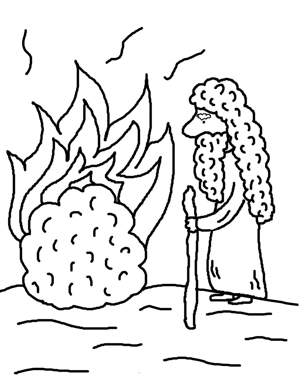 Desenho de Moisés e o arbusto pegando fogo para colorir