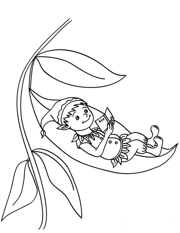 Desenho de Gnomo lendo deitado na folha de árvore para