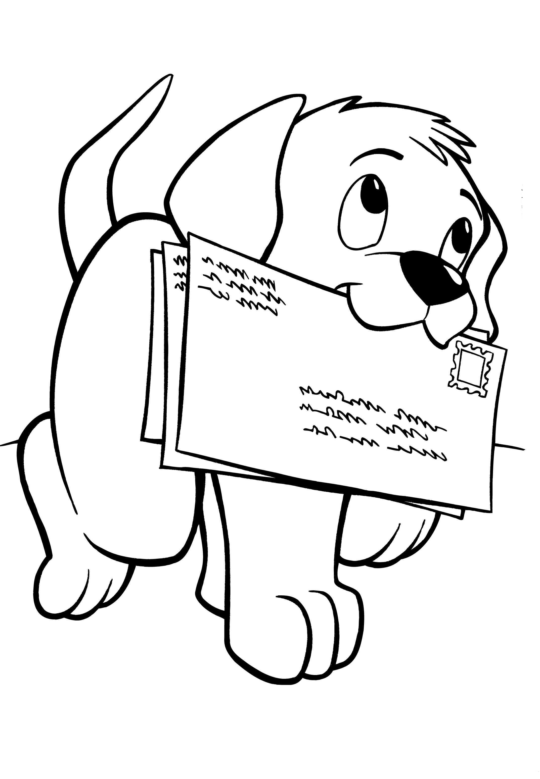 Desenho de Cãozinho carregando cartas para colorir