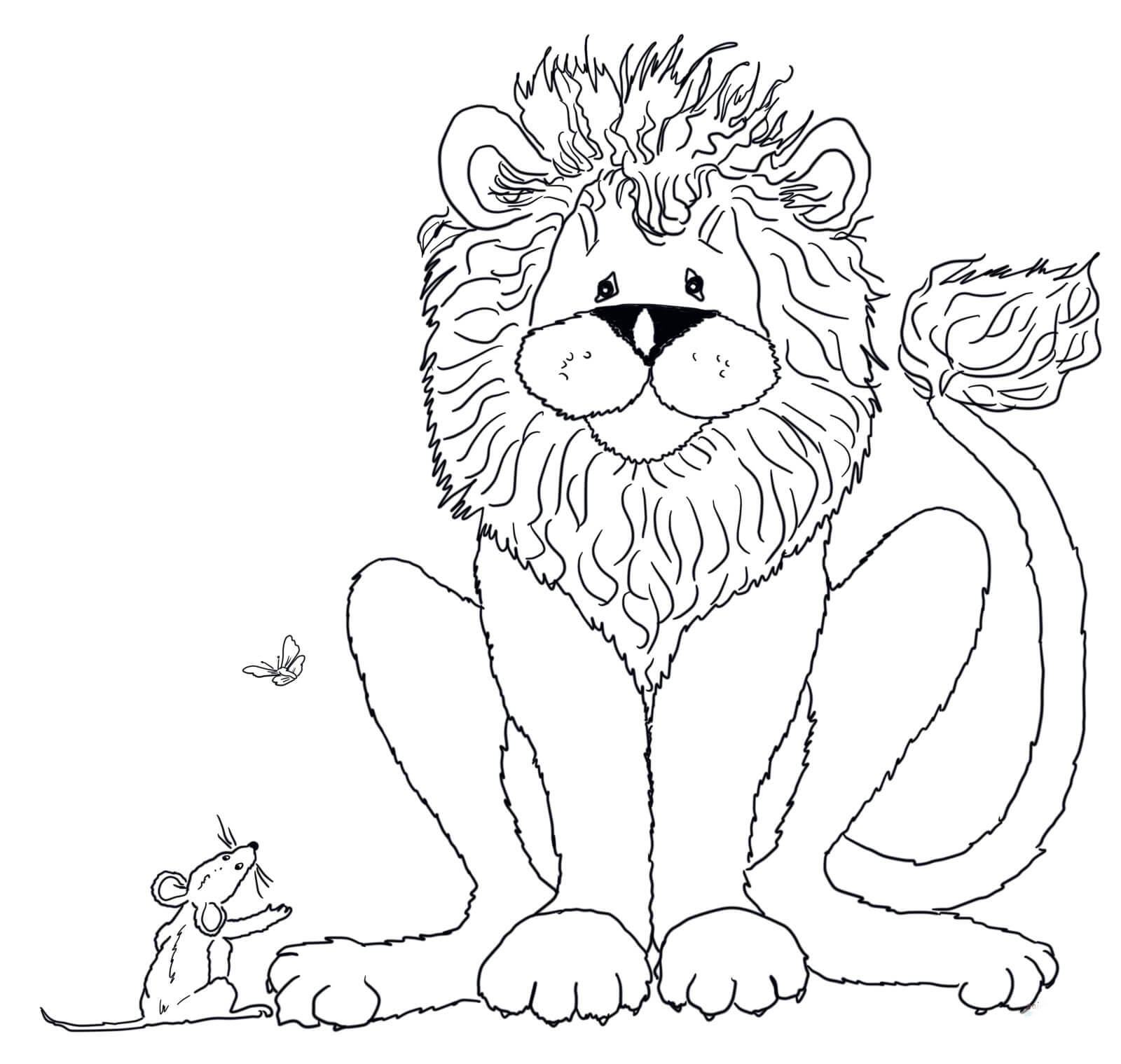 Desenho De Leao E Amigo Ratinho Para Colorir