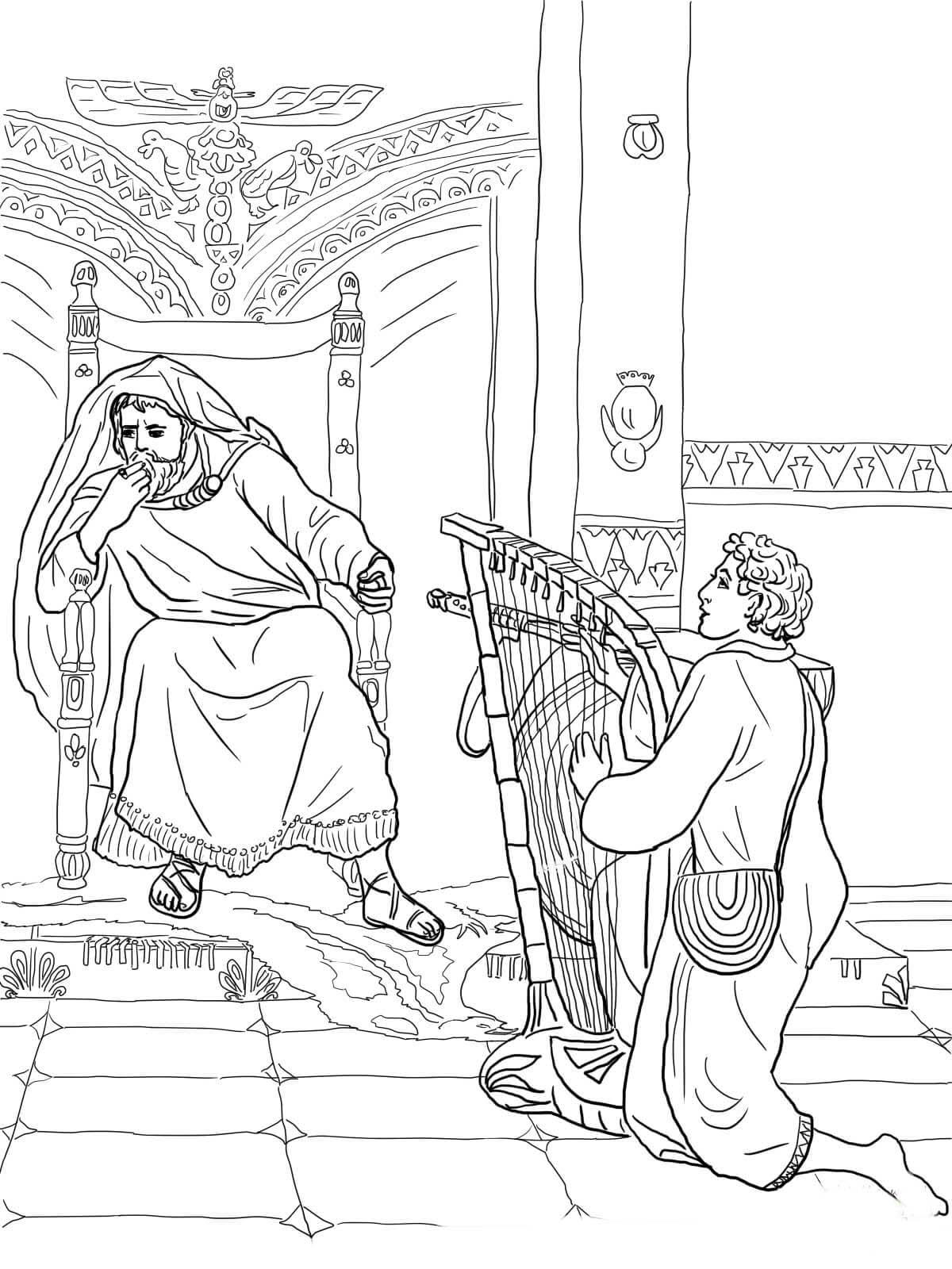 Desenho de Davi tocando arpa para Saul para colorir