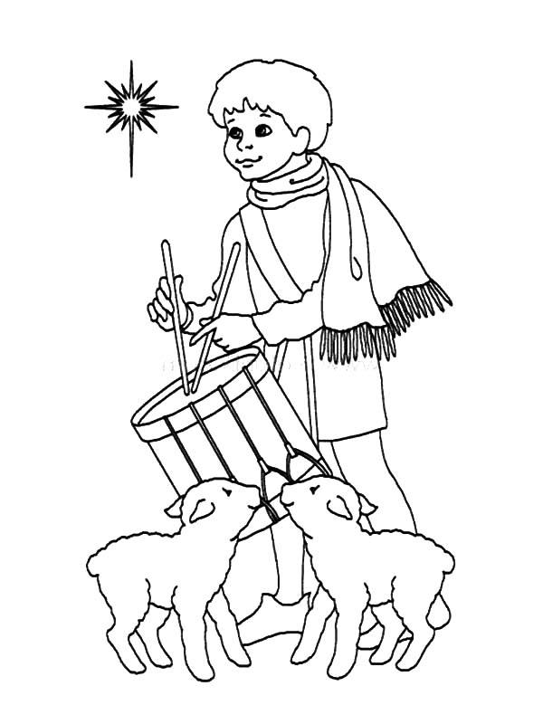Desenho de Pastor de ovelhas tocando tambor para colorir