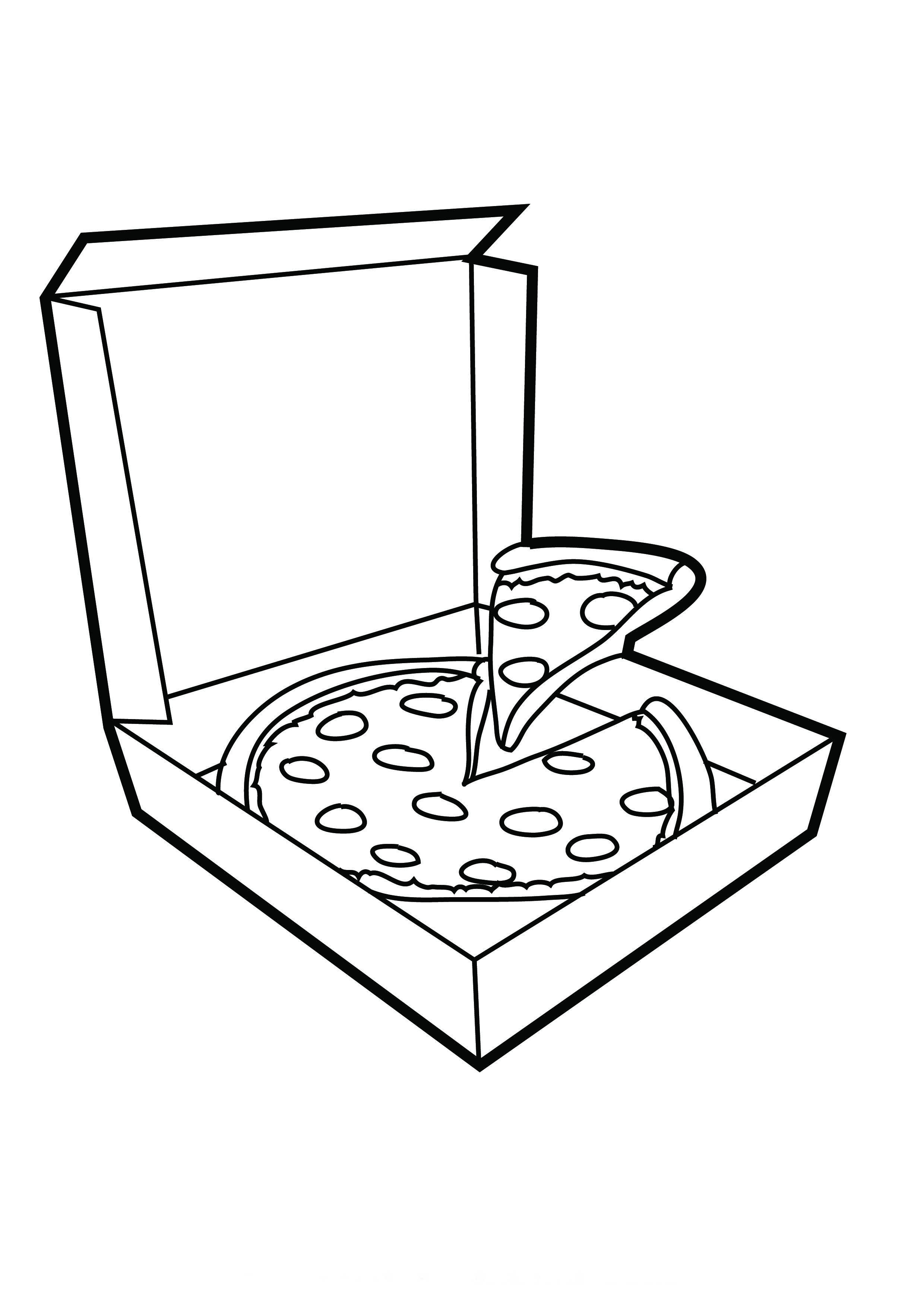 Desenho De Caixa De Pizza Para Colorir