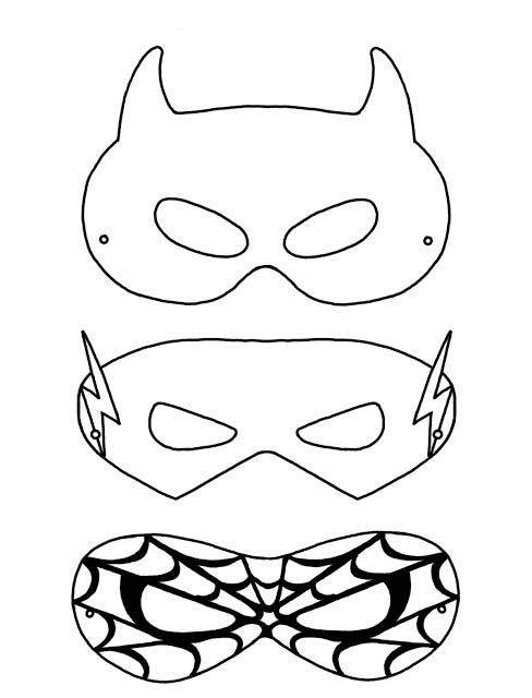 Desenho de Máscaras de super-heróis para colorir