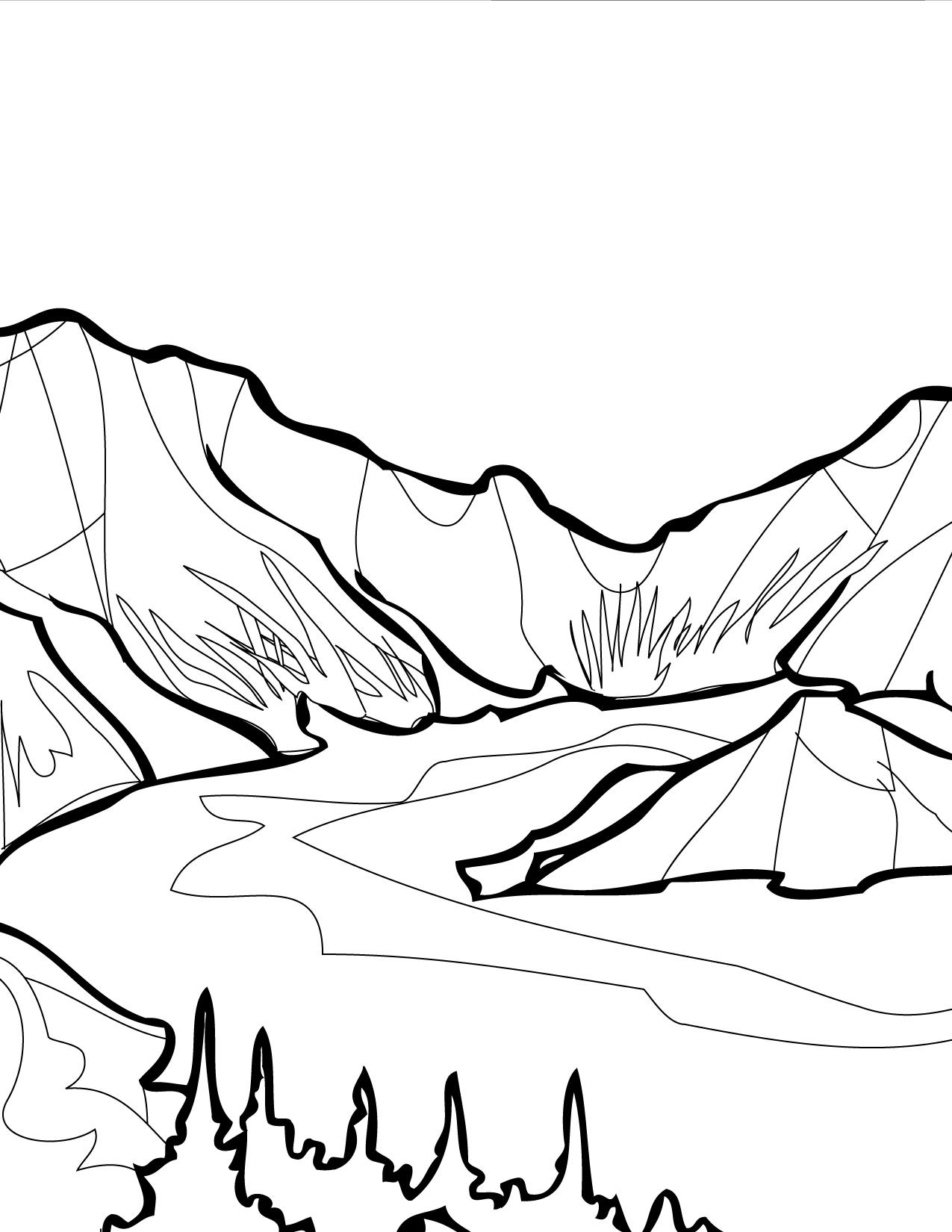 Desenho De Lago Entre Montanhas Para Colorir