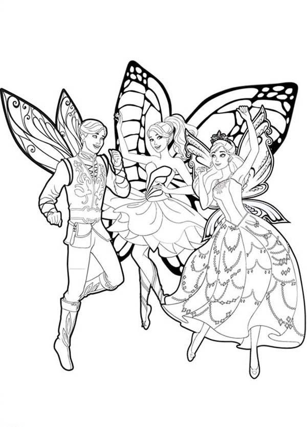 Desenho de Barbie mariposa e as fadas-borboletas para