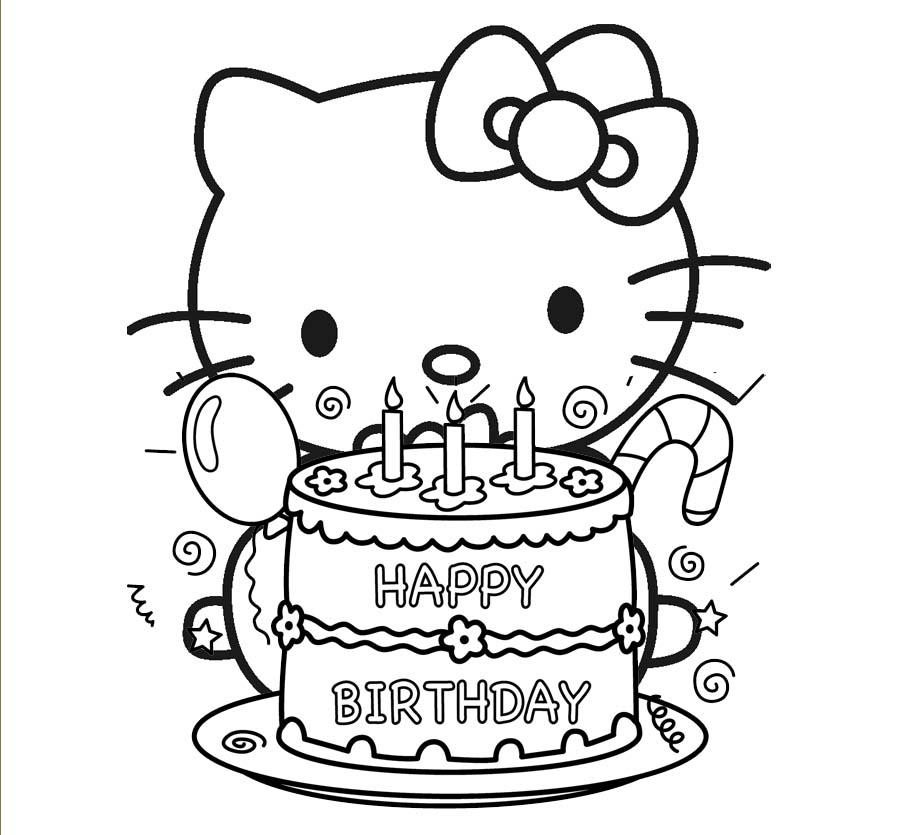 Desenho de Bolo de aniversário da Hello Kitty para colorir