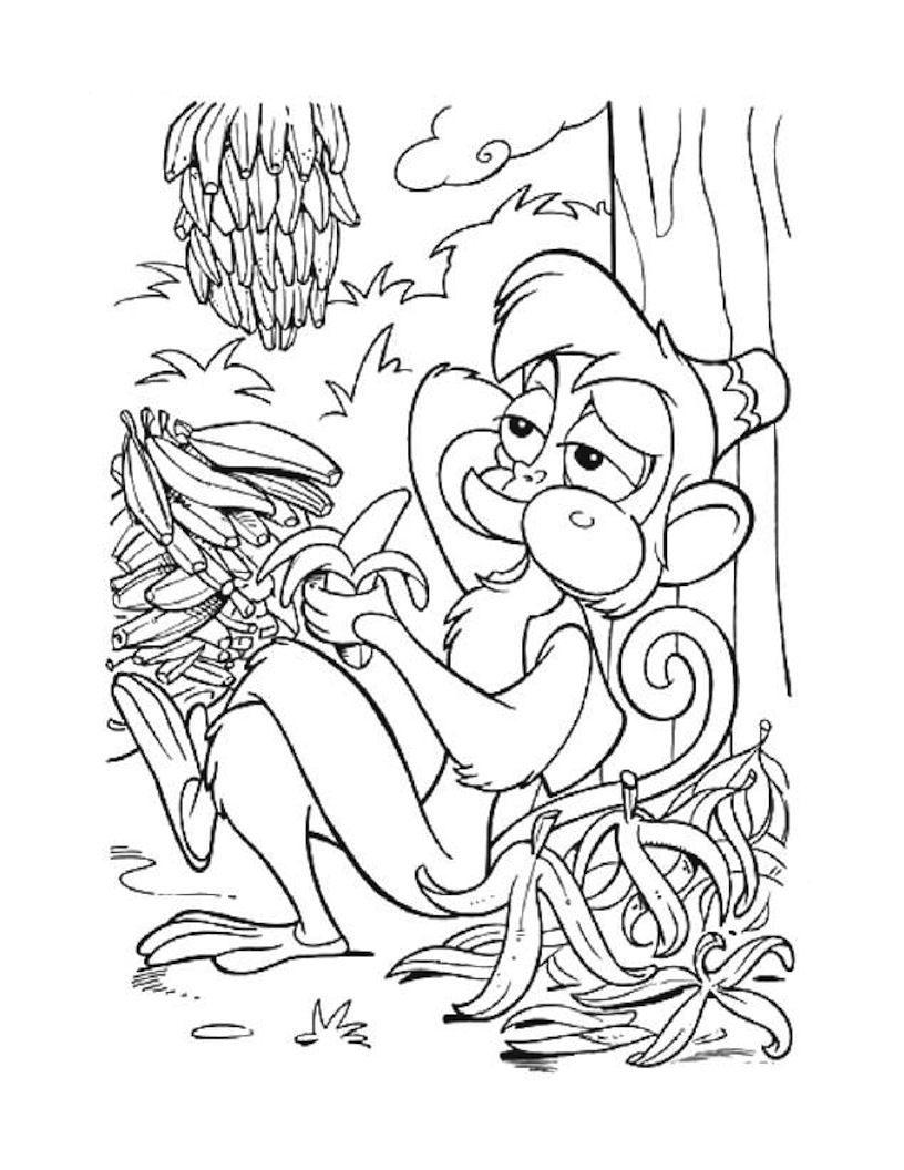 Desenho de Macaco Abu comendo banana para colorir