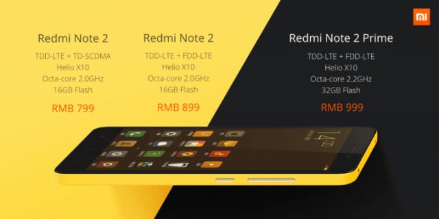 Redmi Note 2 e Note 2 Prime