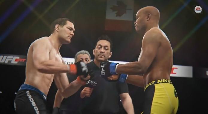 Imagens de Chris Weidman e Anderson Silva no game EA Sports UFC.