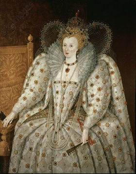 'Elizabeth I of England', c. 1592, Oil on canvas. Author: ESCUELA INGLESA. Location: PALACIO PITTI / GALERIA PALATINA, FLORENZ, ITALIA.