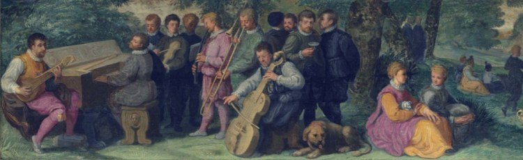 16th century�Venice, Italy: An oil painting from the Venetian School depicts a pastoral concert that includes trombone, cornett, cittern, clavichord, violin, and viol (see detail and full image below; public domain). Special thanks to David Van Edwards