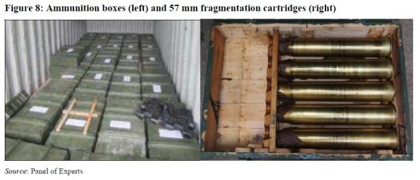 Caixas de munição e 57 mm cartuchos de fragmentação